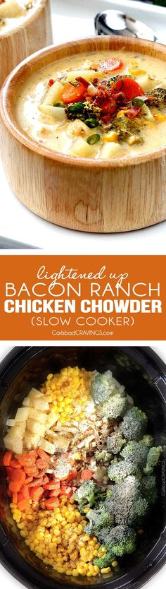 (Lightened up!) flavor packed, EASY creamy, cheesy comforting Slow Cooker Bacon Ranch Chicken Chowder is the ultimate comfort soup packed with corn, potatoes and broccoli with NO butter or cream but SO much flavor!! #broccolicheesesoup #chowder #potatosoup via /carlsbadcraving/