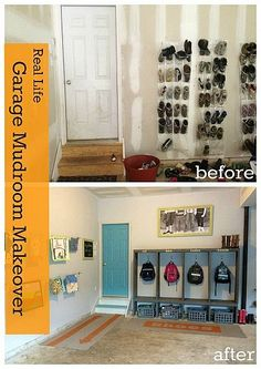 Real garage mudroom. I need this... Yet I'm so far from it.... *Sigh