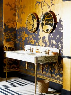 Drummonds at Decorex antique brass creates a dramatic look paired with Arabescato marble on our Hebdern double basin. Woodland Rateau inspired Wallpaper by De Gournay. Gold Wallpaper Bathroom, Of Wallpaper, Painted Wallpaper, Metallic Wallpaper, Gold Bathroom, Interior Exterior, Bathroom Interior Design, Vanity Basin, Beautiful Bathrooms