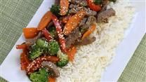 This recipe calls for broccoli, snow peas, carrots, and green beans, but you can use any of your favorites. The vegetables are stir fried with garlic, ginger, and soy sauce. Serve over your favorite rice.