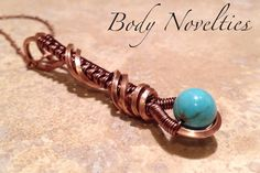Copper and Turquoise Wire Wrapped Pendant by Bodynovelties on Etsy,