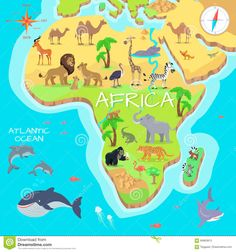 size: Art Print: Africa Mainland Cartoon Map with Local Fauna. by robuart : Savannah Map, Predator Art, Map Games, African Animals, Illustration, Stock Foto, Find Art, Vivid Colors, Childrens Books