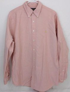Mens Brooks Brothers Long Sleeve 100% Supima Cotton Peach Button Down Collar #BrooksBrothers #ButtonFront