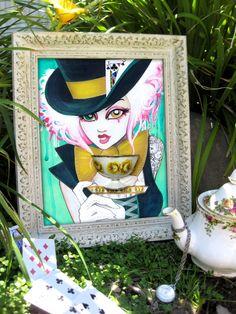 The Mad Hattress 8x10 Fine Art Print by Leilani Joy Alice in Wonderland Art