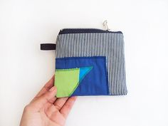 blue and green on stripes pouch by ziazia on Etsy, $14.00