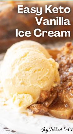 Sometimes you need a perfect, simple vanilla ice cream. My homemade Keto Vanilla Ice Cream has just 6 ingredients and goes well in sundaes, with pie, on top of a warm brownie, and right from the container with a spoon. Or try it with the keto apple crisp in the pic! This easy recipe is low carb, keto, gluten-free, grain-free, sugar-free, and Trim Healthy Mama friendly.