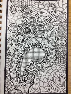 Abstract Doodle Zentangle ZenDoodle Paisley Coloring pages colouring adult… Zentangle Drawings, Doodles Zentangles, Zentangle Patterns, Doodle Drawings, Doodle Art, Doodle Coloring, Mandala Coloring, Tangle Art, Doodle Inspiration