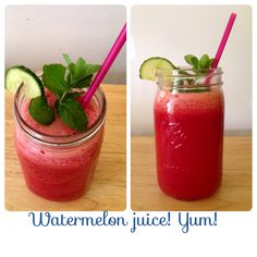 WATERMELON JUICE What you'll need: Blender Strainer Large bowl Large watermelon Mason jar Mint Cut & blend watermelon pour juice through your stainer into bowl. Transfer contents of bowl to your mason jar with as much or little mint as you want! Enjoy!