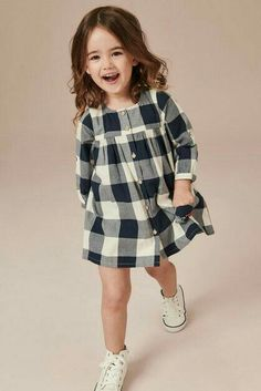 Striped long-sleeved shirt with star and sequins Kids Dress Wear, Little Girl Outfits, Little Girl Fashion, Fashion Kids, Little Girl Dresses, Toddler Outfits, Kids Outfits Girls, Girls Frock Design, Baby Dress Design