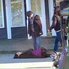 Lana and Jared on set - April 1, 2015