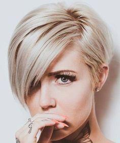 Long bangs blonde short
