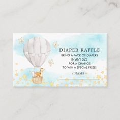 Baby Animals Hot Air Balloon Diaper Raffle Ticket Enclosure Card Air Balloon Rides, Hot Air Balloon, Baby Shower Invitation Cards, Pack Of Diapers, Diaper Raffle Tickets, Safari Party, Gender Neutral Baby, Newborn Baby Gifts, Elephant Gifts