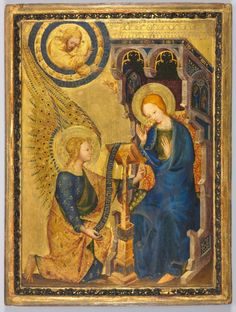 Cleveland Museum of Art The Annunciation, 1380s Netherlands, or possibly France, 14th century tempera and oil with gold on wood, Framed - h:40.32 w:31.43 d:4.76 cm (h:15 13/16 w:12 5/16 d:1 13/16 inches) Unframed - h:30.80 w:22.50 cm (h:12 1/8 w:8 13/16 inches). Mr. and Mrs. William H. Marlatt Fund 1954.393