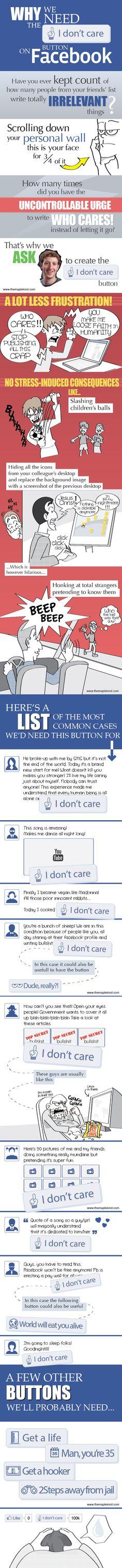 """¿Por qué necesitamos un botón de """"No me importa"""" en Facebook? I don't care"""