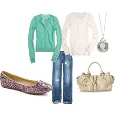 Mint sweater with sparkly flats