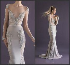 Lace Embellished Mermaid Gown