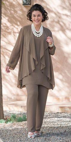 Veromia truffle chiffon jacket, vest and trouser