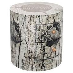 WOODEN COMMODE NATURAL 'TREE TRUNK' 48X48