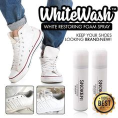 World-Class Foam Spray Keeps Your Shoes Looking Brand-New! Cleaning dirt off your shoes has never been this easy! WhiteWash™️ has the most effective spray formula to get mud and grime off in one wipe! Best Solution For Dirty White Shoes! Shiny Shoes, Clean Shoes, Never Let Me Down, Work Meeting, Cleaning Appliances, Brown Line, Clean And Shiny, Adidas Stan Smith, Grease