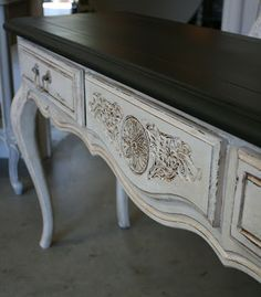 CONSOLE after ~ I applied Annie Sloan's clear and then dark wax to the Pure White table base. I also used clear wax on the top and finished it with a dark ...