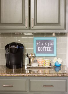 Coffee bar with DIY sign Cabinet paint color Sherwin Williams Thunderous - 29 Awesome Diy Coffee Station Ideas Ideas Kitchen Redo, New Kitchen, Kitchen Remodel, Kitchen Design, Kitchen Ideas, Country Kitchen, Kitchen Corner, Wooden Kitchen, Kitchen Colors