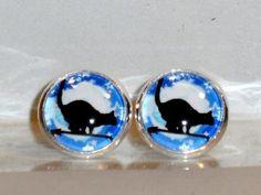 Verrückte Ohrringe und Schmuck Welt  - Ohrstecker Katze Mond blau Glas Ø 14mm inkl.Rahmen - Fassung Neuware