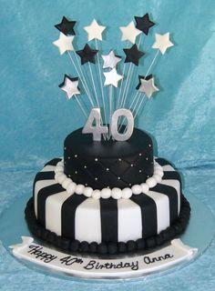 Black and white 40 – # – Geburtstagskuchen 40th Cake, 60th Birthday Cakes, Birthday Cakes For Women, Birthday Cupcakes, Happy Birthday, Cake Icing, Fondant Cakes, Cupcake Cakes, White Cakes