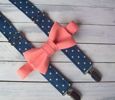Boys Navy and Salmon Bow Tie and Suspenders - Baby Boy Polka Dot Suspenders - Toddler Coral Bowtie - Photo Prop - Ring Bearer - Cake Smash