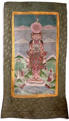 Buddhist Art Collections in Bronze, Wood and Stone Thangka Painting, Buddhist Art, Religious Art, Gouache, Cosmic, Worship, 19th Century, Buddha, Vintage World Maps