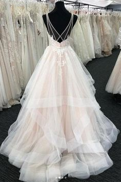 Light champagne v neck tulle lace long prom dress, wedding dress – shdress Best Wedding Dresses, Stunning Wedding Dresses, Bridal Dresses, Wedding Gowns, Prom Dresses, Wedding Reception Dresses, Layered Wedding Dresses, 2 In 1 Wedding Dress, Evening Dresses