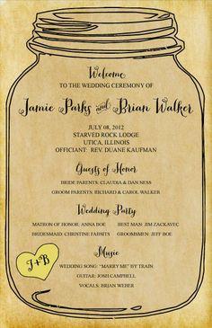 SET OF 25 Rustic Elegance Mason Jar Wedding Programs custom colors available