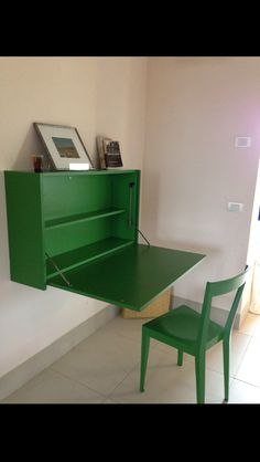 Wall Mounted Desk in Pig-Stye Suite at LaBandita Farmhouse in Tuscany Italy. Sooooo cute & I love the color.  Simple & useful.