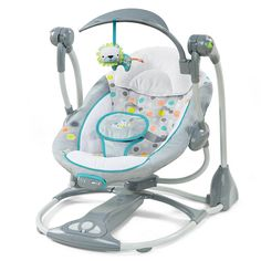 Ingenuity ConvertMe Portable Swing - Ridgedale - When the list of baby gear items feels endless, a combo seat fits just right. This baby swing converts to a vibrating infant seat – two parenting must-haves in one. When used in swing mode, 5 automa. Portable Baby Swing, Bebe Video, Swings For Sale, Baby Swings, Baby Bouncers And Swings, Small Baby, Seat Pads, Baby Registry, Baby Gear