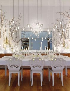 fanciful white on white dining room