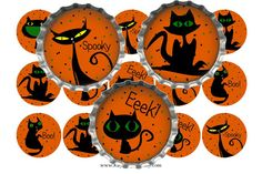 SALE 1C080 Halloween Stray Cats 1 Inch Digital by IKJewelryParty, $0.89
