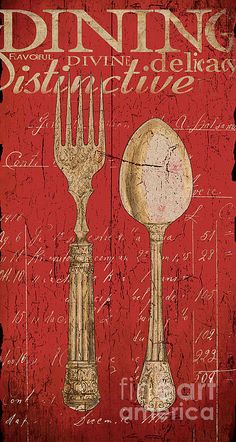 Vintage Kitchen Utensils In Red Canvas Print / Canvas Art by Grace Pullen