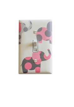 Pink Elephant Switchplate / Pink and Gray Nursery by SSKDesigns