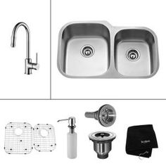 KRAUS All-in-One Undermount 32x20-3/4x9 0-Hole Double Bowl Kitchen Sink with Chrome Kitchen Faucet-KBU24-KPF1622-KSD30CH at The Home Depot