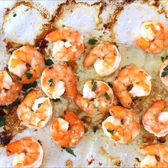 10 Minute Garlic Butter Baked Shrimp is an easy recipe for perfectly cooked, garlicky, buttery shrimp that is baked on a sheet pan in just 10 minutes!