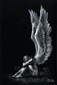 Spiral Enslaved Angel Wings Sad Weeping Crying Gothic Fantasy Poster - in Home & Garden, Home Décor, Posters & Prints Sad Angel, Angel And Devil, Crying Angel, Wings Drawing, Angel Drawing, Fantasy Kunst, Dark Fantasy Art, Christus Tattoo, Wallpaper Bonitos