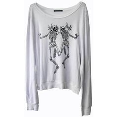Wildfox Skeleton Dance Baggy Beach Jumper in Clean White ($85) ❤ liked on Polyvore featuring tops, sweaters, shirts, long sleeves, halloween picks, white long sleeve shirt, baggy sweater, white shirt, long sleeve shirts and skeleton sweater