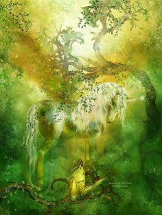 Unicorn Of The Forest Fine Art Print - Carol Cavalaris