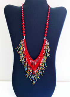 Native American necklace with red silver by MontanaTreasuresbyMJ