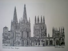 Catedral de Burgos, dibujada por JRAL Taibona (CATEDRALES DE ESPAÑA)