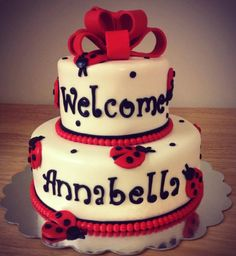 Angela's Cake Creations: https://www.facebook.com/angelascakecreations    Lady Bugs Baby Shower Cake
