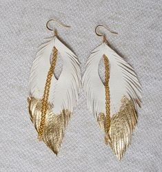 Leather Feather Earrings. White Gold Leafed Feather Earrings.