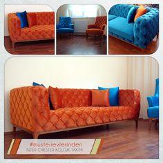 Nuri Can Çelebi Bey, Inter Chester koltuk takımını Mavi ve Turuncu renklerde olan 1.sınıf kadife kumaş ile kombinledi #intermobilya #mobilya #chester #orange #blue