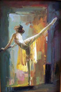 Lovely ballet painting. Would love to know who the artist is, so I could provide attribution.