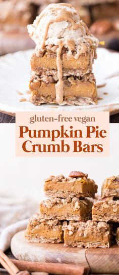 This recipe is the perfect staple for fall! You'll go nuts for these gluten-free, refined sugar-free and vegan pumpkin pie bars. #vegandessert #pumpkin Healthy Vegan Desserts, Vegan Dessert Recipes, Baking Recipes, Delicious Desserts, Healthy Eating, Healthy Recipes, Vegan Pumpkin Pie, Pumpkin Pie Bars, Pumpkin Recipes