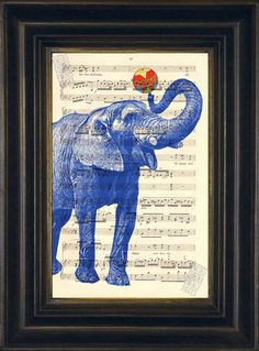 Elephant with Ball print on upcycled Vintage Sheet Music Page mixedd media digital page ink animal Band Website, Music Page, Vintage Sheet Music, Elephant Print, Free Prints, Upcycled Vintage, Art Journal Pages, Antique Books, Book Art